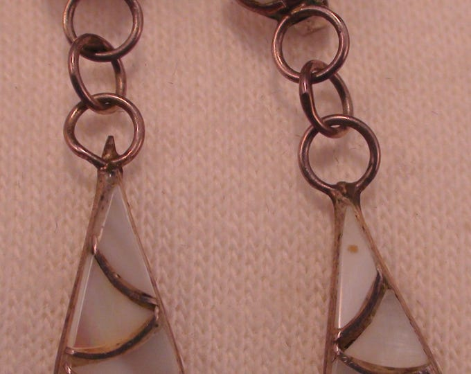 Native American Zuni Silver MOP Inlay Earrings Mid Century