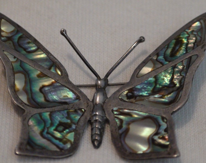Antique Taxco Mexico Sterling Silver Abalone Butterfly Brooch