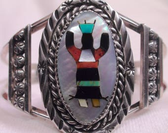 Native American Zuni Sterling Silver Multi Stone Inlay Gahn Dancer Bracelet