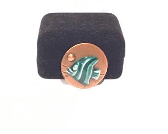 Mid Century Enamled Copper Fish Brooch Pin