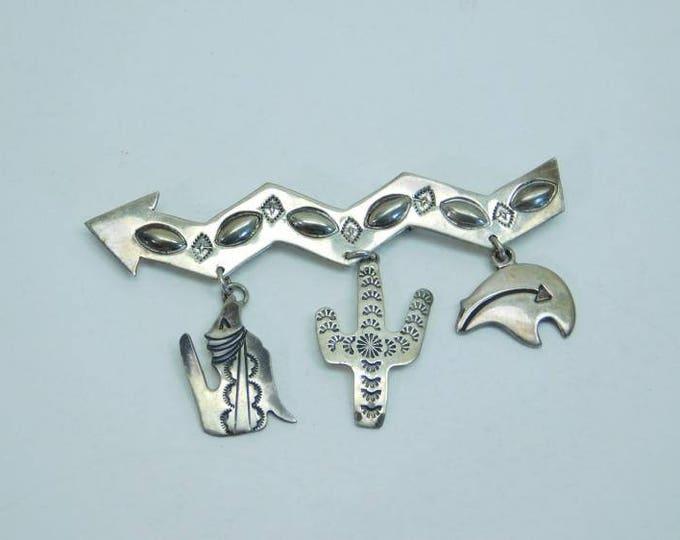 Native American Navajo Sterling Silver Charm Brooch Pin Ella Peter