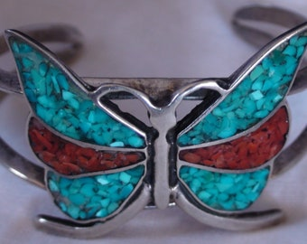 Native American Navajo Sterling Silver Turquoise Coral Chip Inlay Butterfly Cuff Bracelet