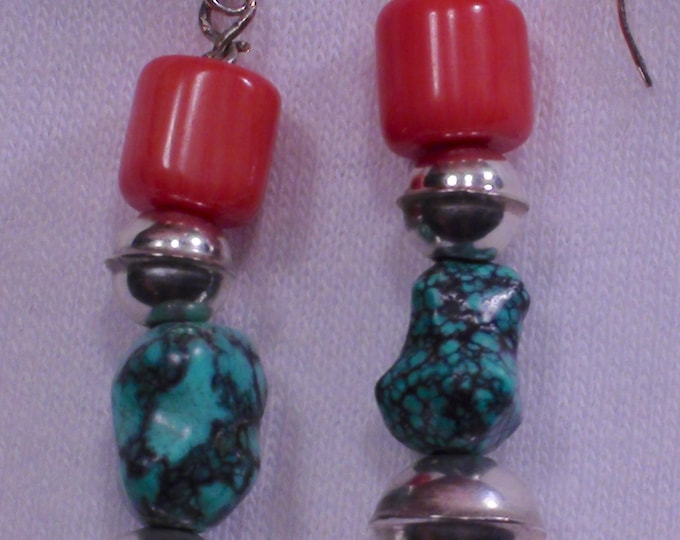 Native American Navajo Sterling Silver Turquoise Coral Dangle Earrings