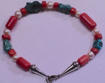 Native American Navajo Sterling Silver Turquoise Coral Pearl Beaded Bracelet