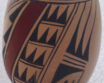 Native American Hopi Polychrome Pottery Vase 4 1/4 X 3 1/2 Inches Treva Burton