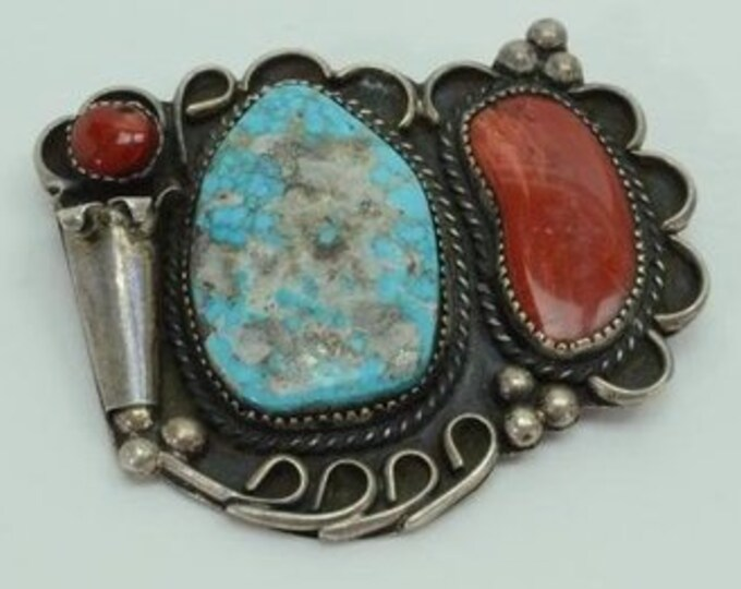 Native American Navajo Sterling Silver Turquoise Spiny Oyster Coral Brooch Pin