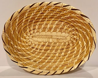 Vintage Native American Papago Tohono O'odham Hand-woven Turtle Basket 8 3/4 inch