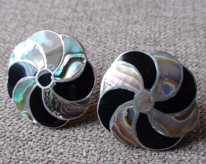 Antique Taxco Sterling Silver Onyx Abalone Screw Back Pinwheel Earrings A Munoz