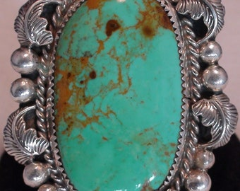 Native American Navajo Sterling Silver Turquoise Stone Ring Size 9.5 Signed