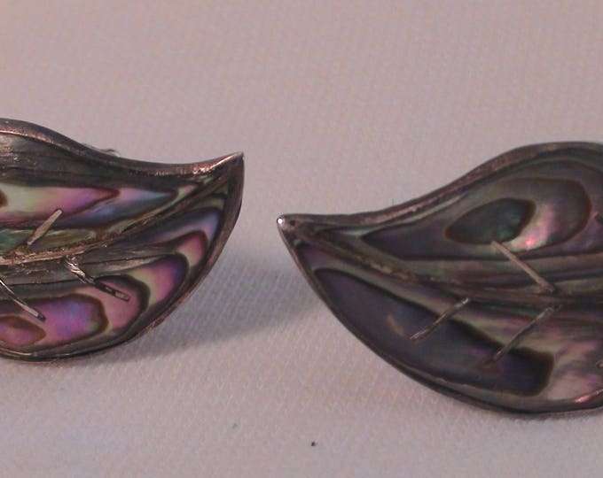 Antique Taxco Mexico Sterling Silver Abalone Feather Screw Back Earrings