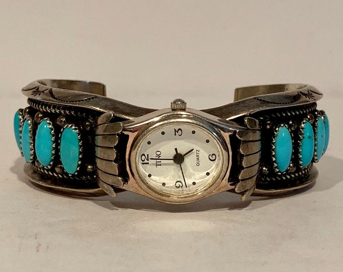 Native American Navajo Sterling Silver Turquoise Women's Watch Cuff Navajo Guild mark