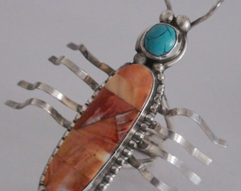 Native American Sterling Silver Turquoise Spiny Oyster Stones Beetle Ring Size 10 1/2 Signed