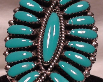 Native American Navajo Sterling Silver Block Turquoise Cluster Ring Size 11 Signed