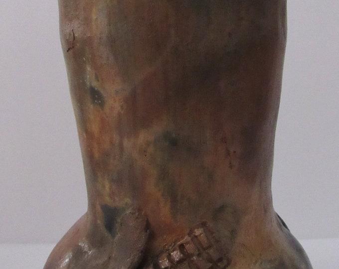 Native American Navajo Pine Resin Glazed Pottery Corn Vase 8 x 4 Inches