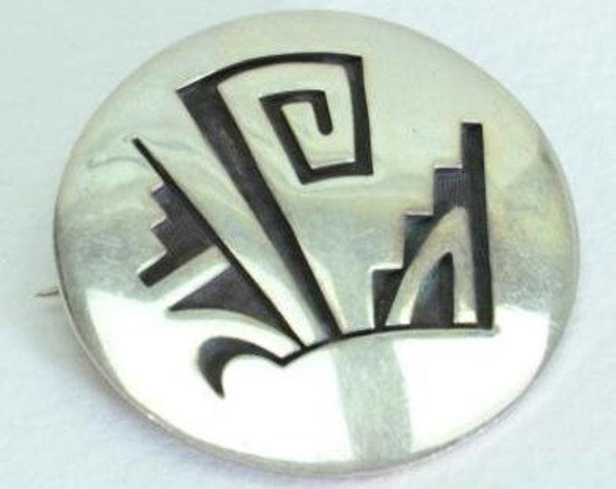 Native American Hopi Sterling Silver Overlay Brooch Pin Lambert Poseyesva