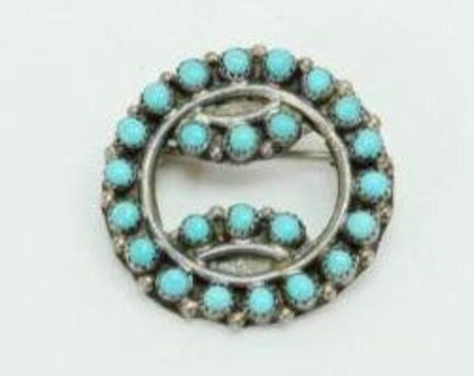 Native American Zuni Sterling Silver Snake Eye Turquoise Brooch Pin