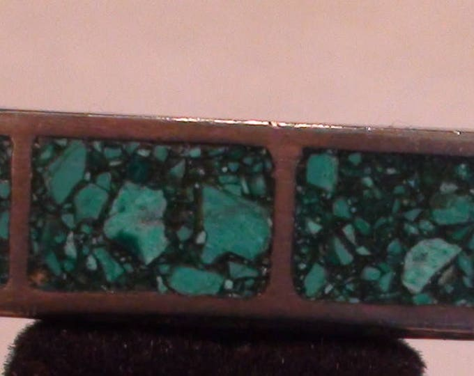 Native American Navajo Silver Turquoise Chip Inlay Cuff Bracelet