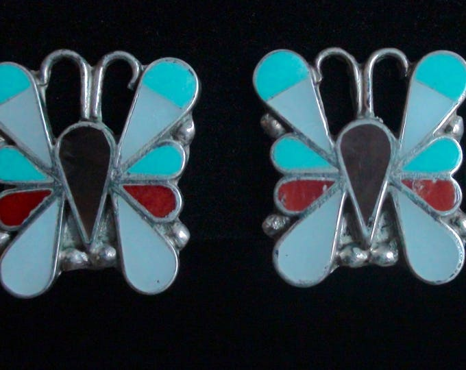 Native American Zuni Silver Coral Turquoise MOP Inlay Butterfly Clip On Earrings