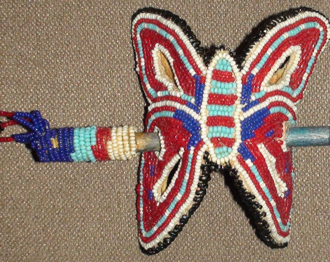 Antique Native American Glass Seed Bead Hair Barrette Warm Springs Tribe