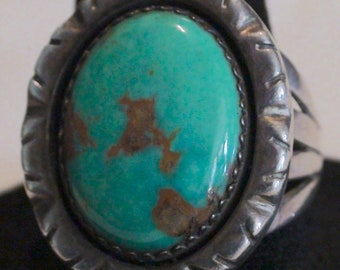 Native American Navajo Sterling Silver Turquoise Stone Ring Size 9 Ivan Kee