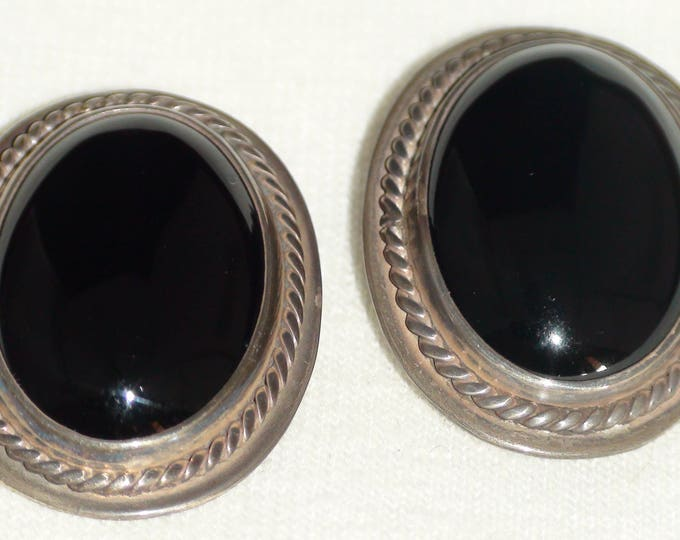 Native American Navajo Sterling Silver Onyx Clip On Earrings