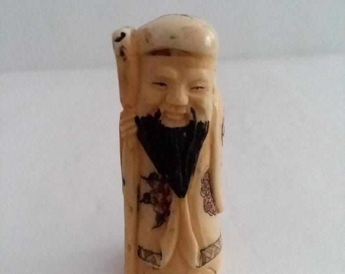 Antique Hand Carved Cow Bone Okimono Signed 2 inch X 1 inch