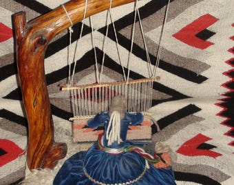 Native American Navajo Wool Rug Weaver Doll 17 Inches