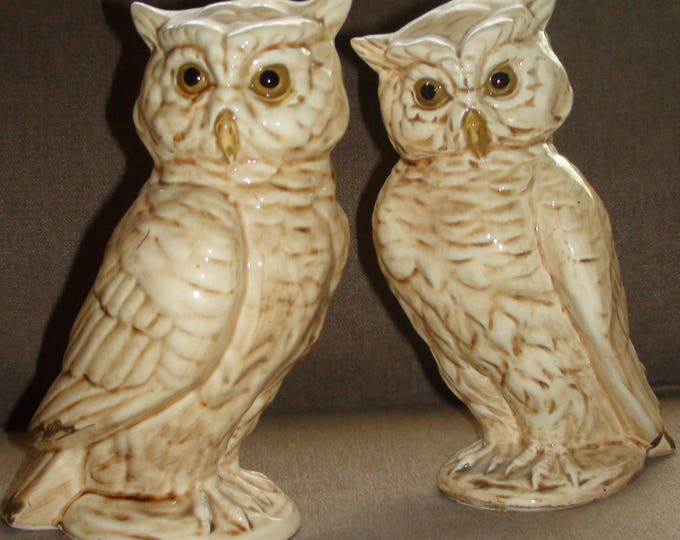 Pair Mid Century Porcelain Owl Figures Statues 7 1/2 Inches Made In Japan