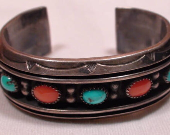 Native American Navajo Sterling Silver Turquoise Coral Cuff Bracelet Old Pawn