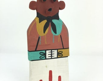 Native American Hopi Mudhead Katsina Kachina Cradle Doll Hand Carved
