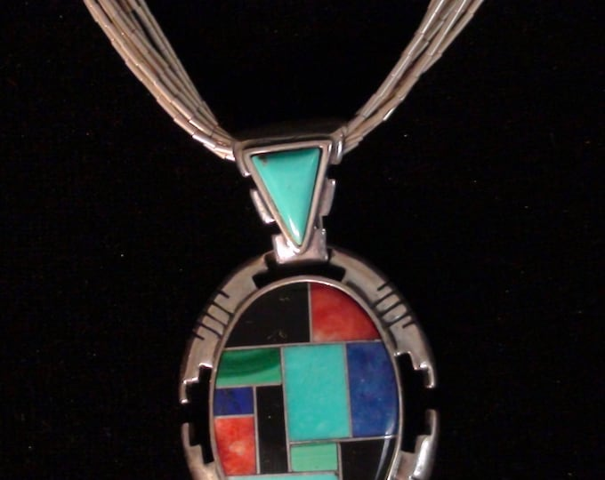 Southwestern Carolyn Pollack 10 Strand Sterling Silver Liquid Silver Necklace And Pendant Adjustable
