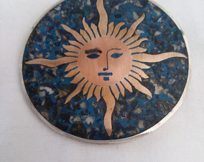 Mid Century Mexican Taxco Sterling Silver Copper Lapis Sunface Brooch Pendant