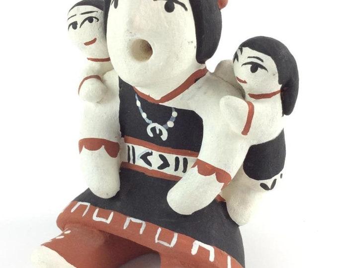 Native American Cochiti Pueblo Polychrome Pottery Storyteller Figure Hummingbird