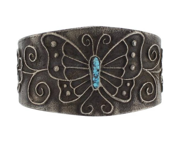 Native American Navajo Sterling Silver Tufa Sand Cast Turquoise Butterfly Bracelet Merle House