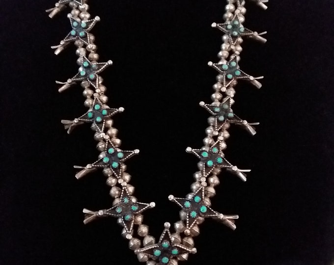 Native American Zuni Sterling Silver Snake Eye Turquoise Squash Blossom Necklace