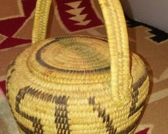 Native American Pima Hand Woven Lidded Polychrome Basket