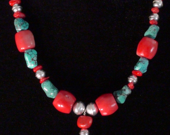 Native American Navajo Sterling Silver Turquoise & Coral Bead Necklace