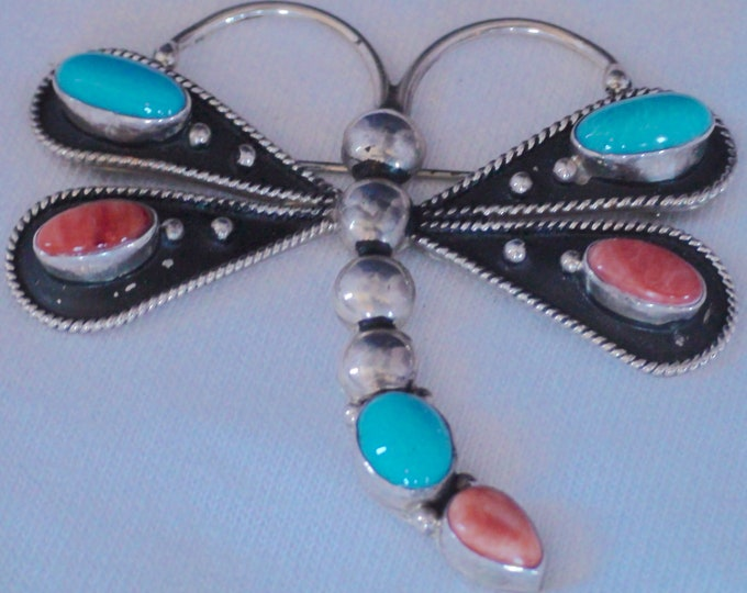Native American Sterling Silver Turquoise Spiny Oyster Dragonfly Brooch Signed