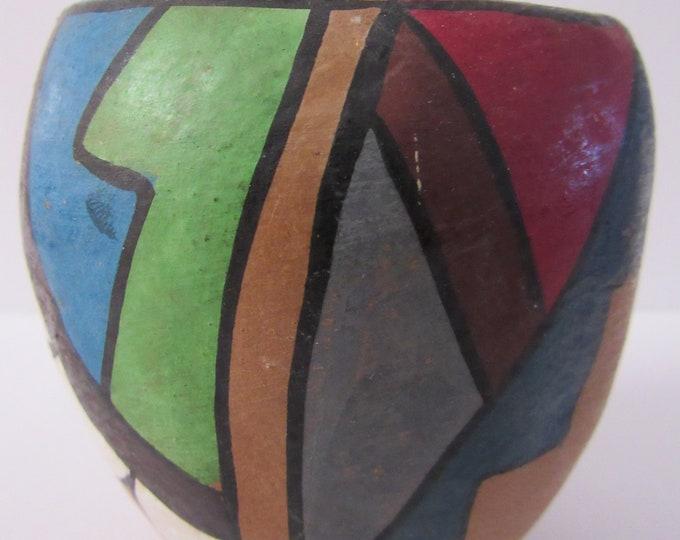 Native American Jemez Pueblo Poster Paint Pottery Vase Mid Century