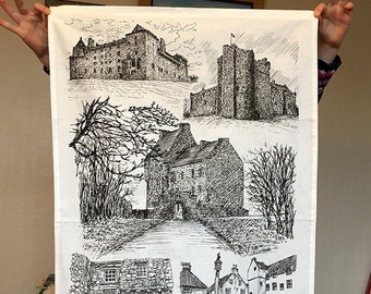 Outlander inspired Tea Towel featuring black ink illustrations from Scottish filming locations
