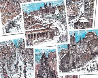 6 x Snowy Edinburgh gift cards, illustrated by Edinburgh Sketcher. 6 festive scenes of the city, 14cm square cards with 6 white envelopes