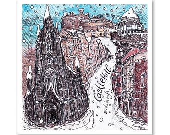 Snow on Castle Hill, Edinburgh, Scotland - A single square Greeting Card 14cm x 14cm with white envelope and recyclable sleeve.