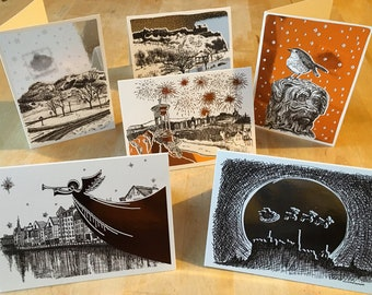 Six foiled Christmas cards featuring illustrations of Edinburgh. 3 silver and 3 copper. Blank inside, each A6 card comes with an envelope