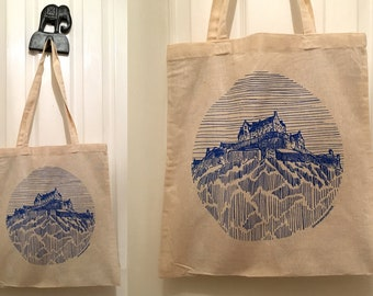 Screen Printed illustrated Edinburgh Castle tote bag from original sketch.