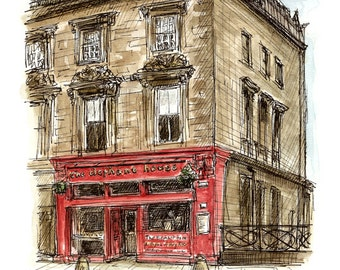 The Elephant House coffee shop in Edinburgh, Scotland. High quality print of an original ink and watercolour sketch. Sold in a mount.