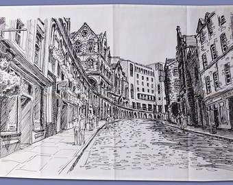 Printed tea towel with Victoria Street illustration