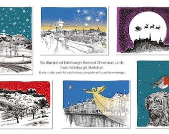 6 x Edinburgh themed Christmas cards, illustrated by Edinburgh Sketcher.  Blank inside, each A6 card comes complete with a white envelope