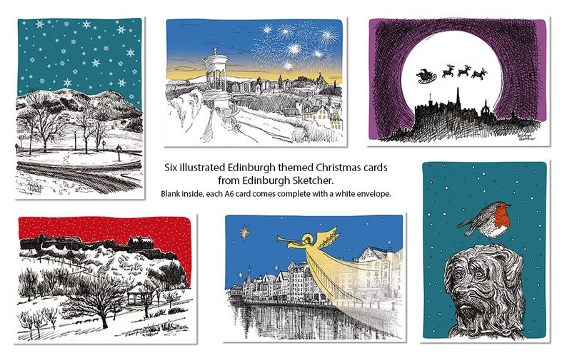Six illustrated Edinburgh themed Christmas cards  from image 0