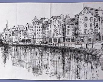 Printed tea towel with The Shore, Edinburgh illustration