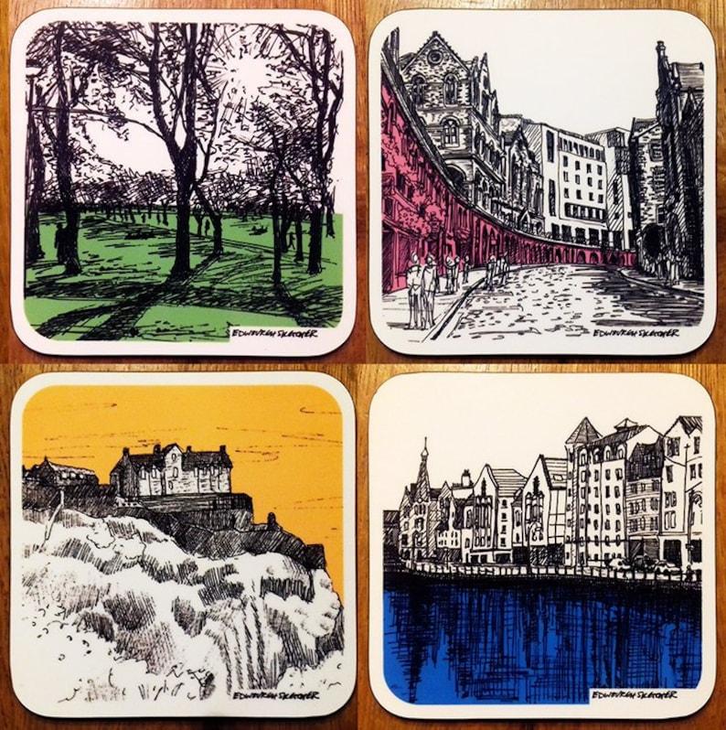 Set of four colourful Edinburgh Illustrated Coasters featuring image 0